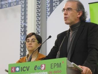 Ricard Gomà (ICV), ahir en la roda de premsa a Barcelona