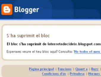 Imatge del bloc de La Terreta Decideix, després del seu tancament AVUI