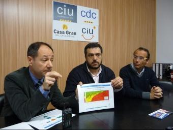 Jaume Folch, Marc Costa i Fèlix Riba durant la roda de premsa d'ahir de CiU. C.A.F