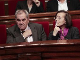 Ernest Maragall , Montserrat Tura i Joaquim Nadal el dia que es va constituir el nou Parlament de Catalunya el passat mes de desembre ROBERT RAMOS