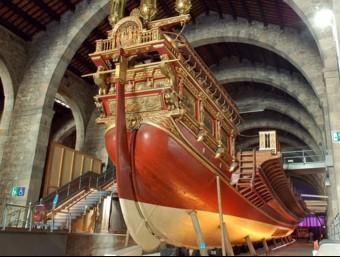 Un vaixell exposat en les drassanes de Barcelona.  ARXIU