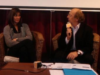 Anne-Marie Brun, responsable de Cultura de l'Ajuntament de Prada, i Michel Lethiec, director artístic A.R