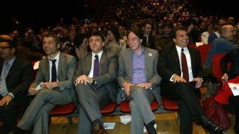 Amorós, Puigcercós, Portabella i Laporta ahir durant l'acte públic que es va celebrar a L'Auditori JUANMA RAMOS