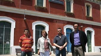 D'esquerra a dreta, els candidats de Fornells de la Selva: Francesc Xavier Cabrera (PSC-PM), Francisca Pilo (PP), Josep Esteba (PSC-PM) i Mateu Parera (CiU)