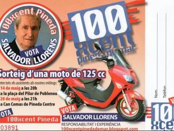 La butlleta de sorteig de la moto promoguda per 100xcent Pineda de Mar. T.M