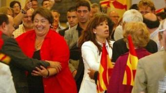 Veray i Camacho en l'acte de tancament de campanya ahir a Girona JOAN SABATER