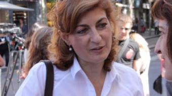 La candidata de ciU, Victòria Forns, ahir durant la darrera roda de premsa de la campanya. ACN