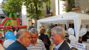 Josep Trias, en un moment a l'inici de l'acte de final de campanya de CiU.