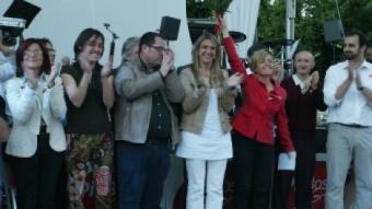 Pia Bosch, en l'acte que va cloure la campanya ahir al vespre a Girona JOAN SABATER