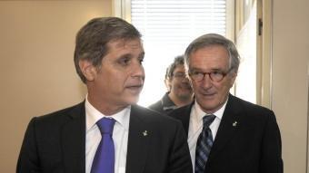 Els líders municipals de PP i CiU a Barcelona, Alberto Fernández Díaz i Xavier Trias, a la sortida d'una reunió el passat 26 de maig JOSEP LOSADA