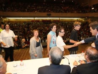 El president de la Generalitat, Artur Mas, va presidir ahir l'acte d'entrega dels premis Baldiri Reixac als alumnes d'escoles en llengua catalana. OLÍVIA MOLET