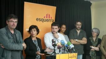 Palmada i altres membres d'ERC en una de les compareixences per explicar els recursos que han anat presentant J. SABATER