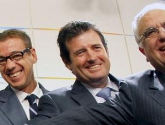 José Císcar, el segon per la dreta, és el nou conseller d'Educació. ARXIU