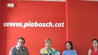 Quintana, Bosch, Barbero i Paneque ahir durant la roda de premsa dels PSC D.V