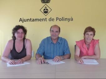 Els portaveus d'ERC (Anna Fernàndez), CIU (Ramon Mayoral) i ICV-EUiA (Felisa Garcia) M.C.B