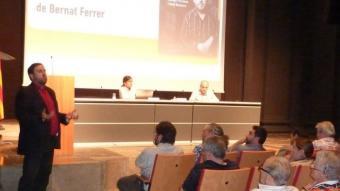 Junqueras, ahir a la tarda durant la seva exposició presentació a l'Auditori Josep Irla, a Girona. J.T