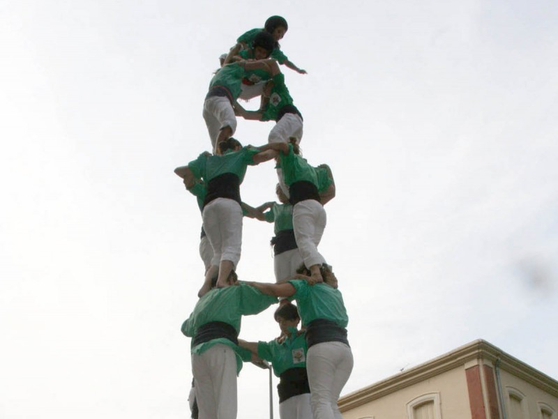 El 4de7 dels Castellers del Riberal aquest dissabte passat a Millars. AIRENOU