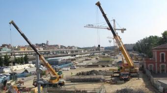Les obres del TAV a l'antic Parc Central de Girona. JORDI NADAL