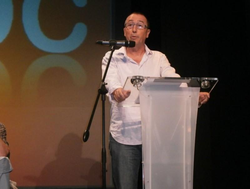 Joan Baldoví intervé a la trona del Consell Nacional del Bloc. T. RODRÍGUEZ