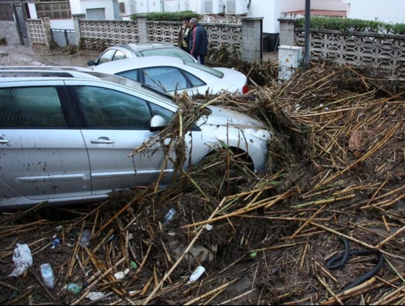 Diferents vehicles han quedat totalment rodejats pel fang i la canyissa a Salou MARC CERVELLÓ / ACN