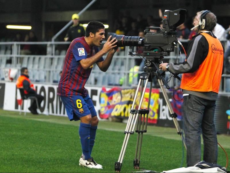 Carmona celebrant el gol de la victòria del Barça B contra el Nàstic, en el derbi disputat ahir al Mini M.PÉREZ