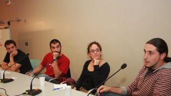 Janer, Pascual i Perpinyà amb la moderadora del debat que es va fer ahir a la Farinera Teixidor MANEL LLADÓ