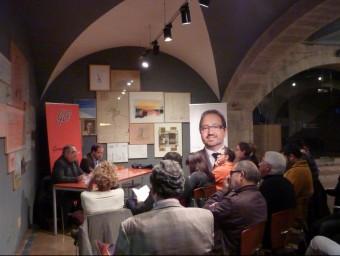 Nadal i Sáez, ahir a Girona, durant la presentació del llibre prologat per Rubalcaba. PAU LANAO