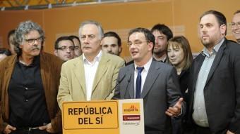 Els membres de la candidatura ERC-Rcat-Catalunya Sí la nit electoral JOSEP LOSADA
