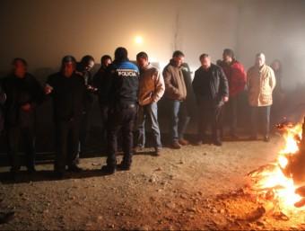 """Els """"pioners"""" d'Alcarràs, en la primera batuda que van fer a finals de gener en col·laboració amb la policia local D.M"""