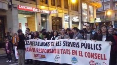 Pancarta unitària que obria la manifestació de desembre passat. ESCORCOLL