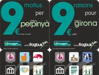 El material promocional que la societat Frogbus distribuirà a les dues viles pel llançament del nou servei. EL PUNTAVUI