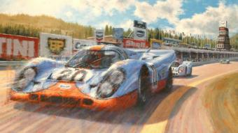 Pintura de Juan Carlos Ferrigno en oli acrílic sobre tela (92x73 cm) que reprodueix el Porsche 917 pilotat per Jo Siffert perseguit pel de Pedro Rodríguez en la baixada cap al revolt de l'Eau Rouge durant els 1.000 km d'Spa, l'any 1971.