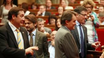 PARLAMENT.  EL PRESIDENT, ARTUR MAS, I DIVERSOS MEMBRES DEL GOVERN, EN LA SESSIÓ D'APROVACIÓ DE LES LLEIS. FOTO: ARXIU
