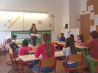 Una classe de l'escola del Pertús que acull alumnes de cada costat de la frontera. S. R