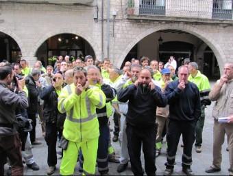 Protesta dels treballadors de l'Ajuntament de Girona contra les retallades DANI VILÀ