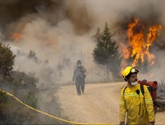 Els bombers intenten controlar un dels fronts de l'incendi de la serra de Cardó. TJERK VAN DER MEULEN
