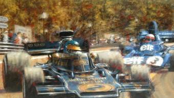 Obra de Juan Carlos Ferrigno. Ronnie Peterson roda davant de Jackie Stewart durant el gran premi de fórmula 1 disputat al circuit de Montjuïc l'any 1973.