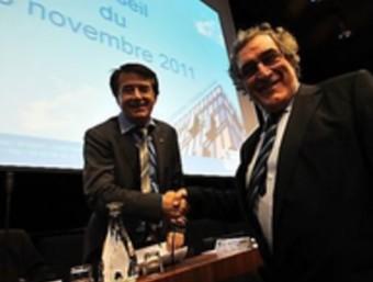 Guy Ilary, batlle de talteüll, amb Jean-Paul Alduy president de l'Aglomeració Perpinyà Mediterrània ARXIU