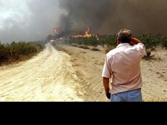 Un llaurador observa amb preocupació com el foc s'aproxima als seus camps de conreu al terme municipal de Macastre. EFE/MANUEL BRUQUE