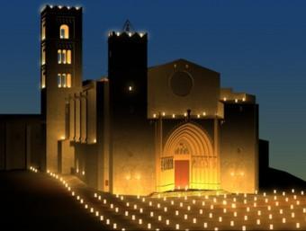 Recreació virtual del projecte d'il·luminació de la basílica de Castelló d'Empúries que tindrà lloc el proper 18 d'agost. J. CUADRAS