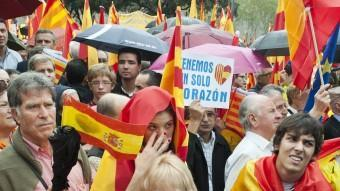 Manifestació a favor de la unitat d'Espanya, l'any passat a Barcelona. J.LOSADA