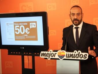 El portaveu de C's, Jordi Cañas, aquest dimecres en roda de premsa ACN