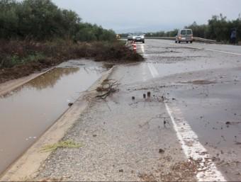 Imatge de les restes vegetals que ha arrossegat la pluja a la carretera TV-3311 entre la Sénia i La Galera, al Montsià, i que ha obligat a tallar la circulació a la via durant unes hores ACN