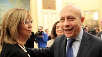 La consellera Irene Rigau amb el ministre d'Educació, José Ignacio Wert. ACN