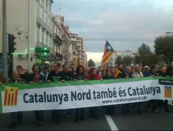 Pancarta de l'ANC de la Catalunya Nord en una manifestació a Perpinyà. A.R