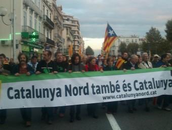 Pancarta a la manifestació de Catalunya Nord per la Independència, la sectorial nord-catalana de l'ANC, amb els membres de la seva permanent nacional A.R