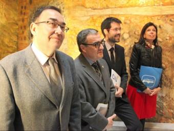 Els caps de llista de Lleida, Josep Cosconera (ERC), Àngel Ros (PSC), Albert Batalla (CiU) i Dolors López (PP) que junt amb ICV tenen representació J.FERNÁNDEZ