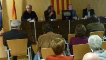 Pugès, Fontanals, Vallcorba i Albareda, ahir, durant l'acte JOAN TRILLAS