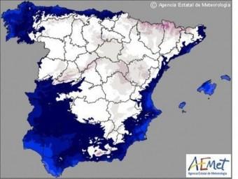 Mapa de temperatures facilitat per l'AEMET. AEMET