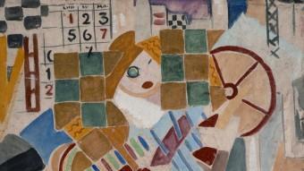 Els autors  'BARCELONA 1918' (1918), DE RAFAEL BARRADAS. A SOTA, 'DONA' (1939), DE FRANCESC DOMINGO. A L'ALTRA PÀGINA, L'ESCULTURA D'ACER INOXIDABLE 'ZEUS', DE FERRAN SORIANO